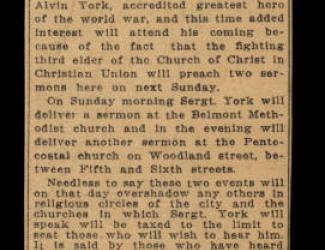 Sgt. York Preach on Sunday