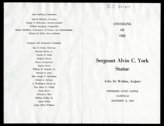 Program for the unveiling of the statue of Alvin C. York