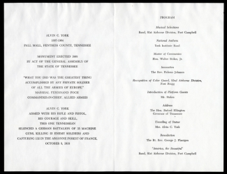 Program for the unveiling of the statue of Alvin C. York, 2