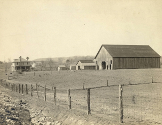 Alvin C. York house with surrounding landscape