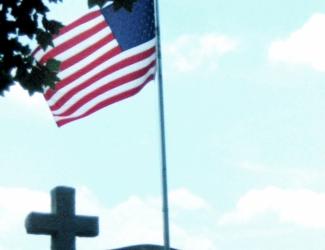 Flag at memorial site